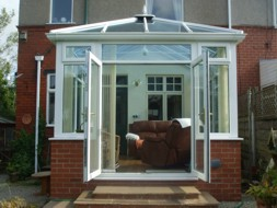 Conservatory with open doors