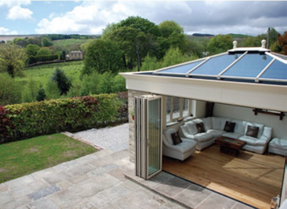 Orangery showing bi-fold doors